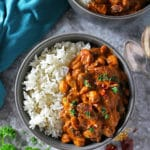 Overhead view of bowl with Easy Three bean curry and rice