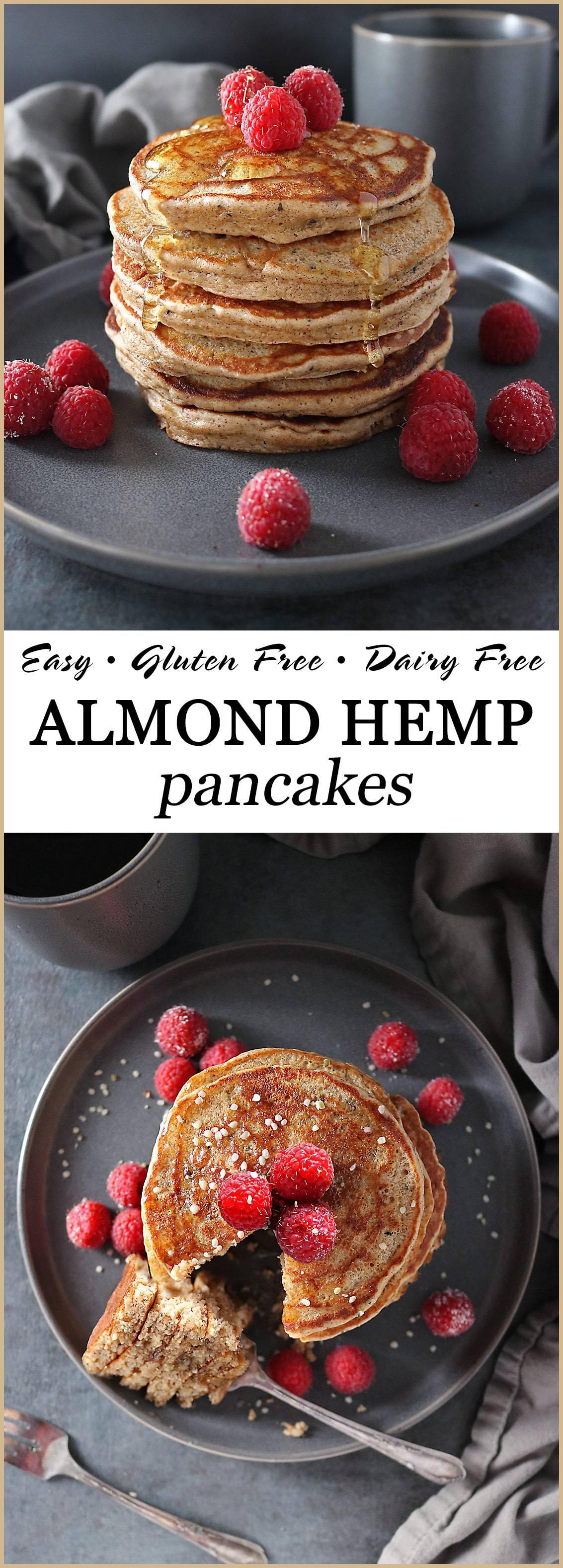 Easy, Gluten Free, Dairy Free, Almond Hemp Pancakes.