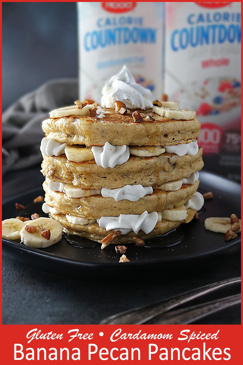 Stack of Gluten Free, Cardamom Spiced, Pecan Banana Pancakes with layers of bananas and whipped cream. #ad #CalorieCountdown #IC @hphood