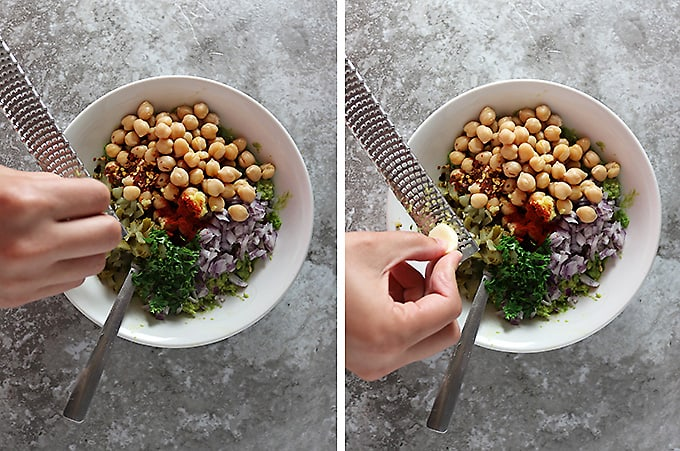 Two photos showing grating ginger and grating garlic into a bowl with ingredients to make chickpeas avocado salad