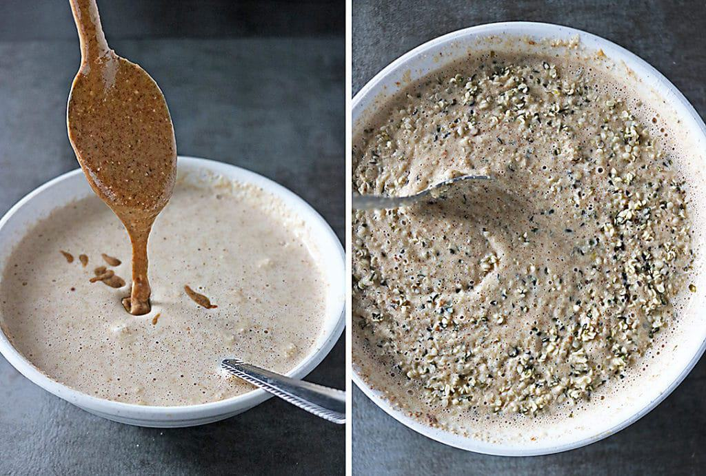 Mixing In Almond Butter And Hemp Hearts Into Pancake Batter