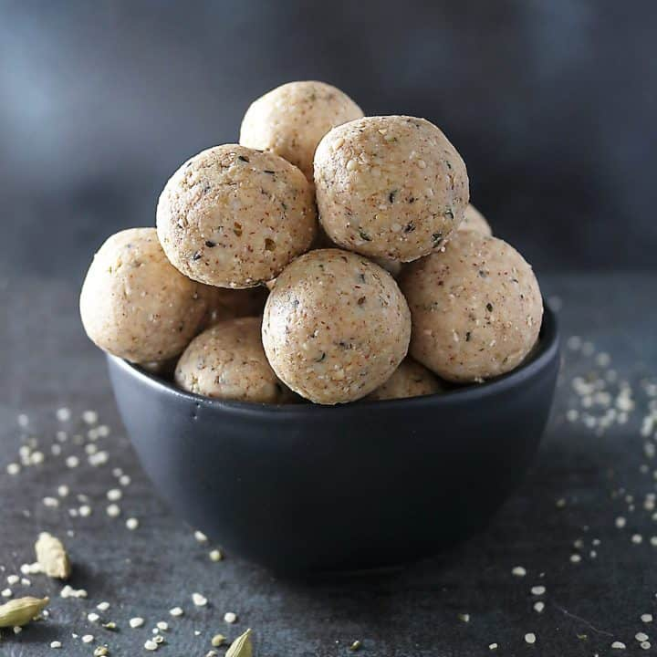 No Bake White Chocolate Almond Bites Stacked in A Bowl