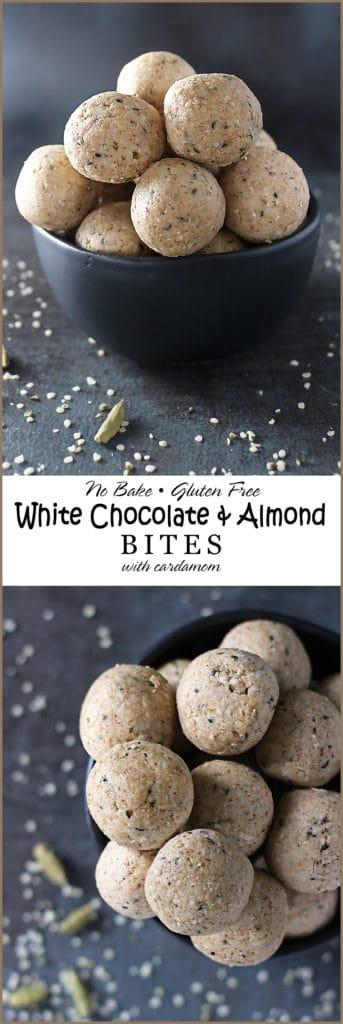 No Bake White Chocolate Almond Bites Image for Pinterest