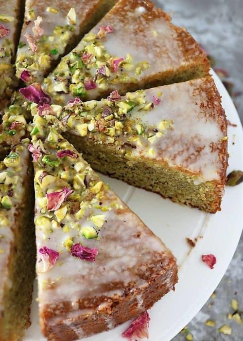 Pistachio Rose Semolina Cake
