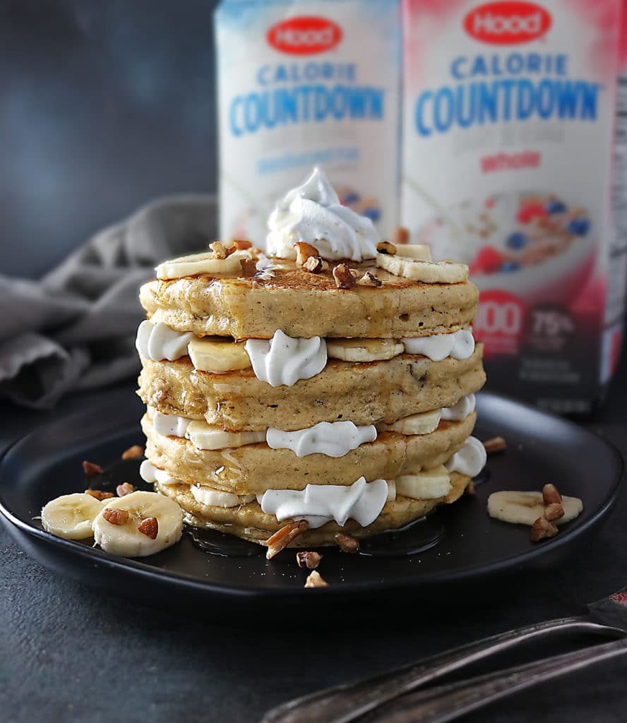 Stack of 4 pecan banana pancakes