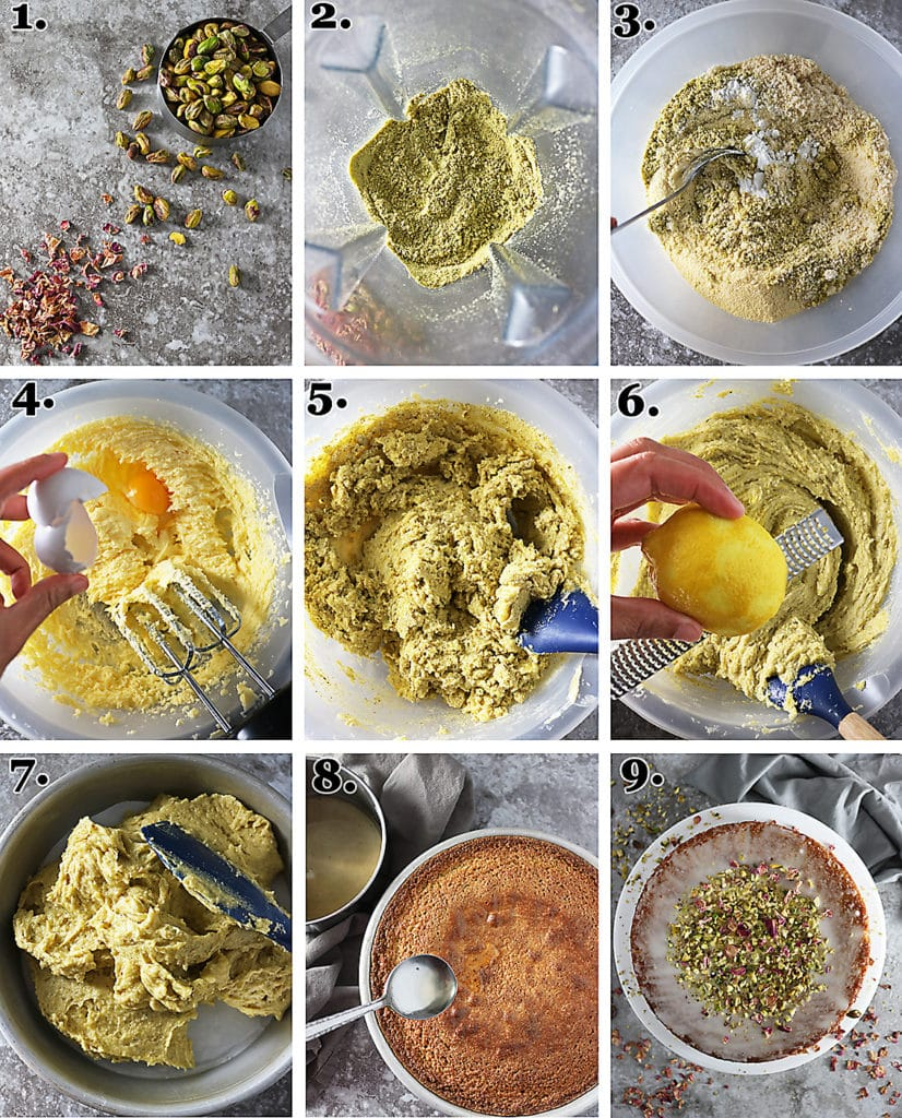Steps To Making Pistachio Rose Cake