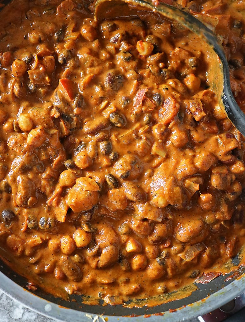 Overhead view of thick and hearty 3 bean curry