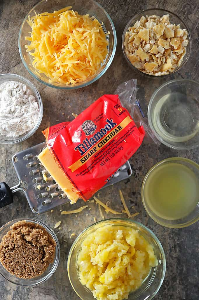 Overhead photo of Tillamook Sharp Cheddar and other ingredients to make Pineapple Casserole