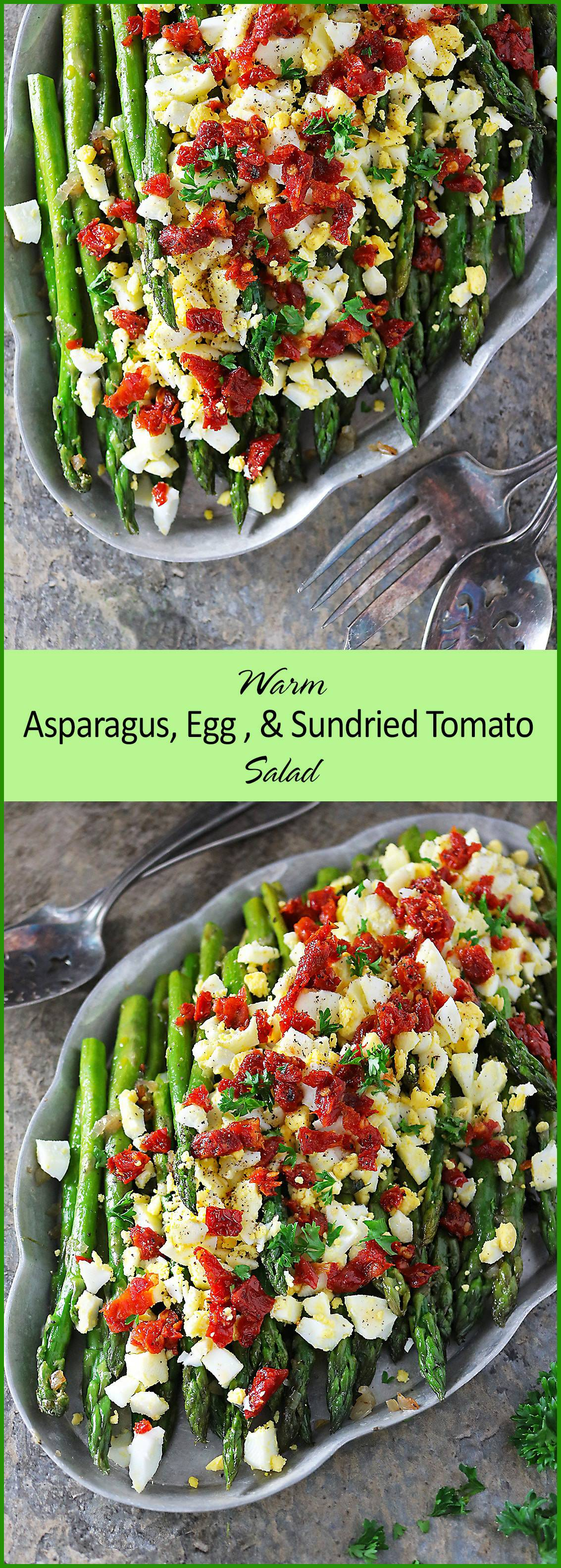 This Sautéed Asparagus Egg Salad with shallots and sundried tomatoes would make a delicious side dish your family would enjoy at a weeknight dinner. Or, whip it up for the mom in your life this Mother's Day!