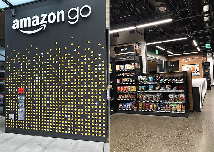 Exterior and Interior of Amazon GO in Seattle