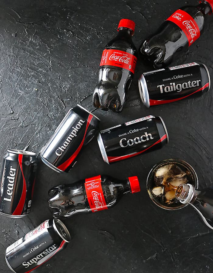 Coca-Cola & Coca-Cola Zero arranged diagnolly