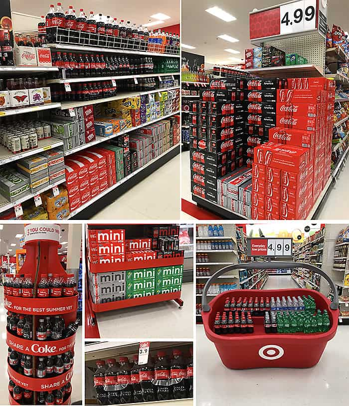 Collage of Coca-Cola at Target