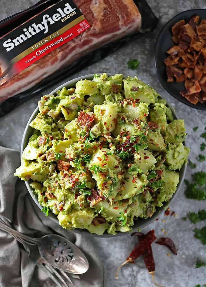 Overhead photo of potato salad with bacon and avocado