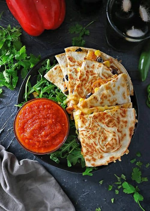 Spicy Veggie Quesadillas with Roasted Red Pepper Dip