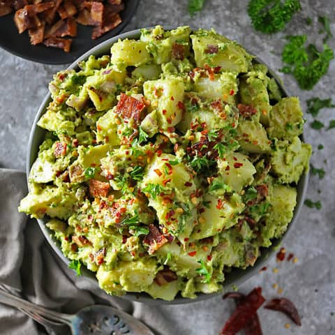 Easy Potatp Bacon Salad with avocado dressing