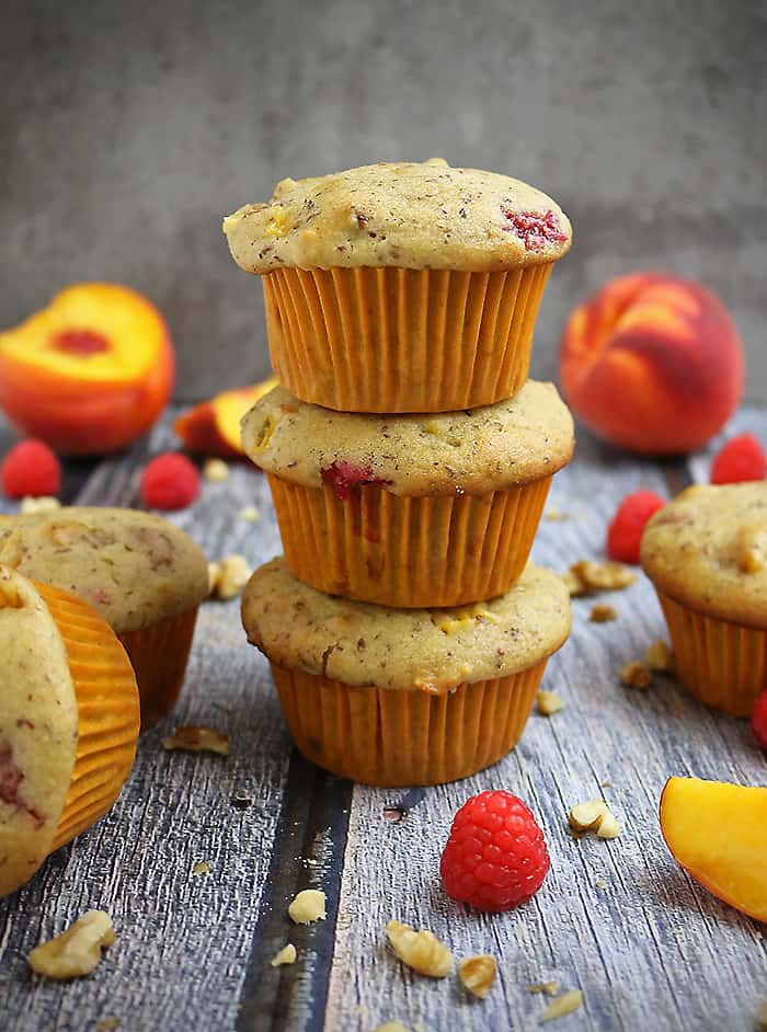 Gluten Free Nutty Vegan Peach Raspberry Muffins Picture
