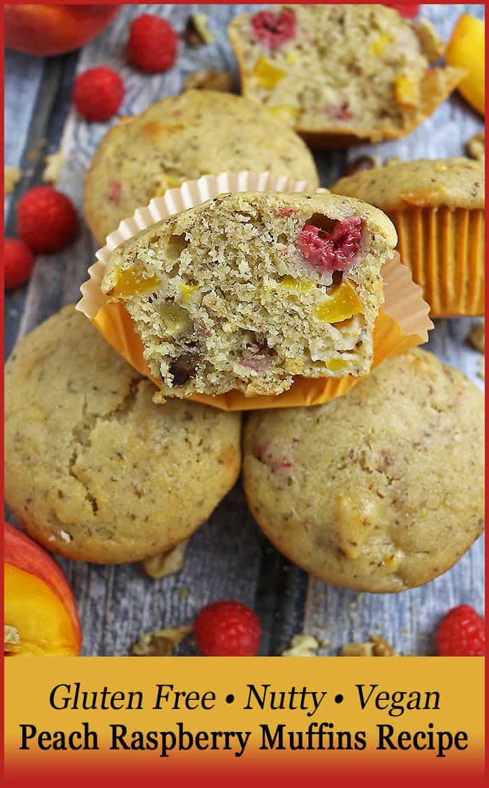 Gluten Free Nutty Vegan Peach Raspberry Muffins highlight two of the best summer fruits. You'll love these for breakfast!