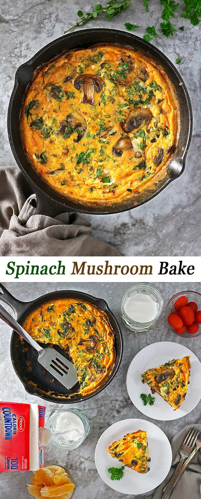 Low carb, spiced, turmeric Spinach Mushroom Bake 