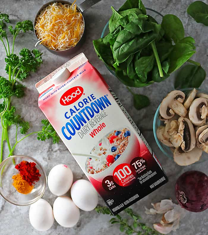 Hood Calorie Countdown and other Ingredients to make spinach mushroom bake