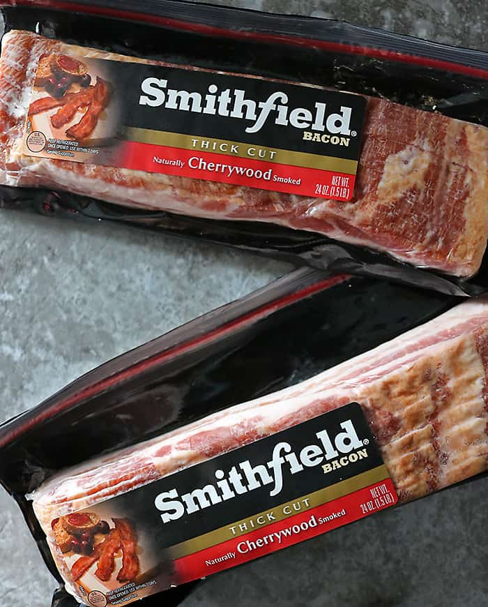 2 packages of Smithfield Thick Cut Cherrywood Bacon