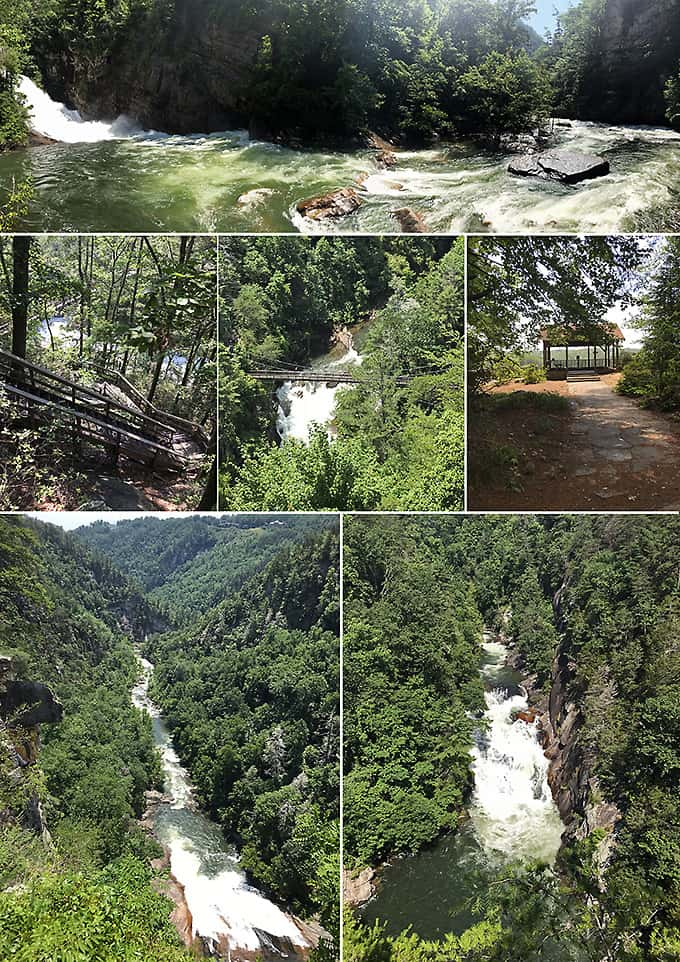 Collage of views of Tallulah Gorge