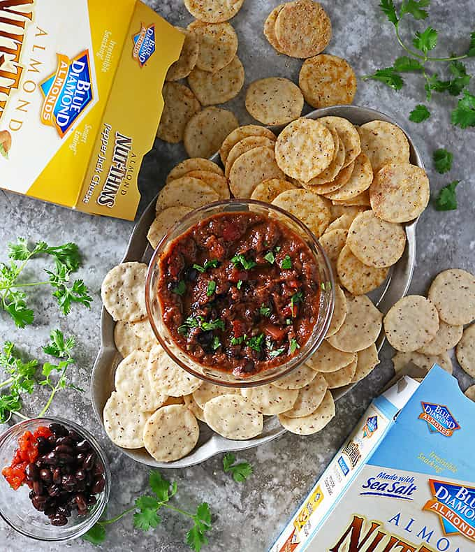 Easy 6 Ingredient Black Bean Dip and Blue Diamond Nut-Thins