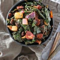 Dandelion Greens Sauté with Bacon & Raisins