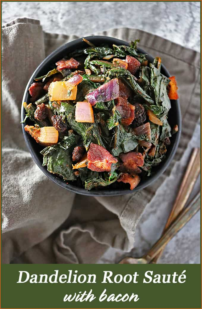 Dandelion Greens Sauté with bacon and raisins #dandelion #dandelionroot