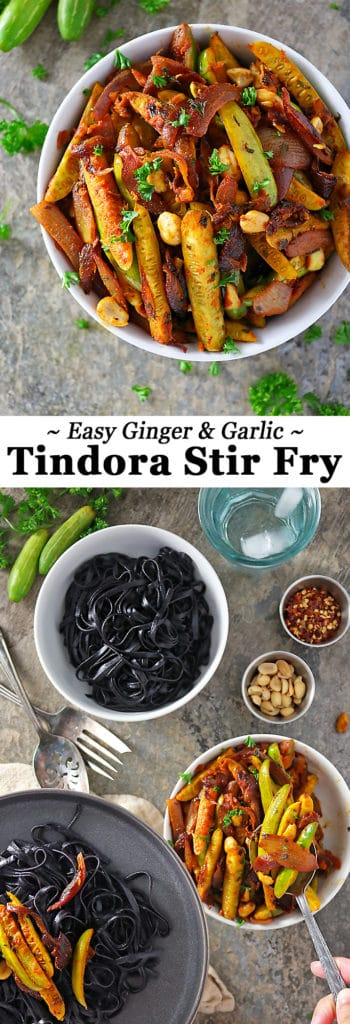 Ginger Garlic Tindora stir fry with black rice noodles Pinterest image