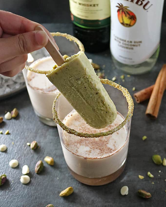 Photo of Pistachio White Chocolate Rum Popsicles In Cocktails