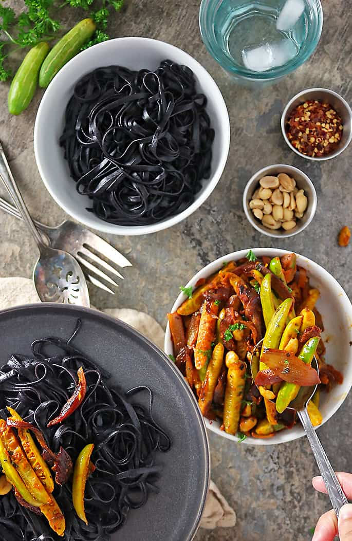 Spicy Ginger Garlic Tindora stir fry with black rice noodles