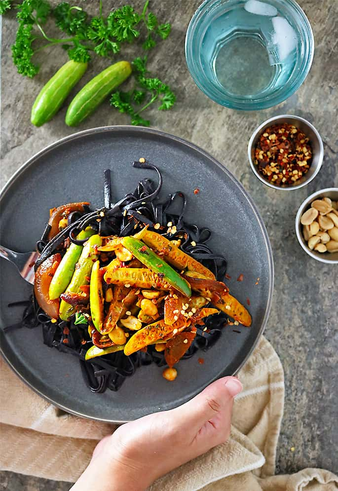 Tindora stir fry with black rice noodles