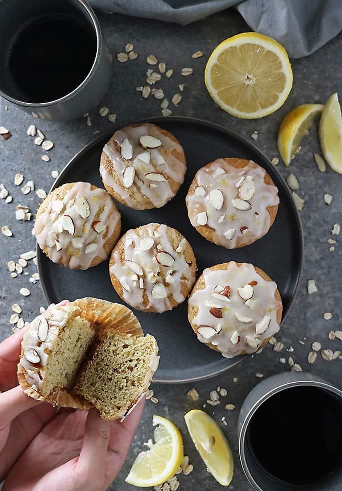 Enjoying coffee and almond lemon muffins