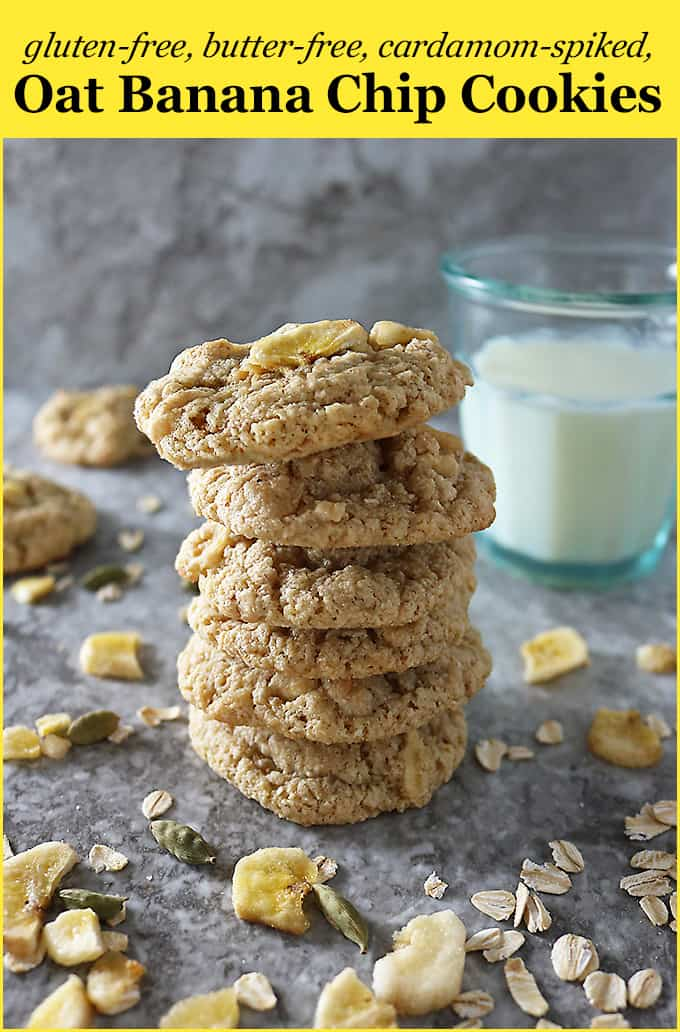 Gluten free, Butter-free, Cardamom-spiked, Oat Banana Chip Cookies with @egglandsbest
