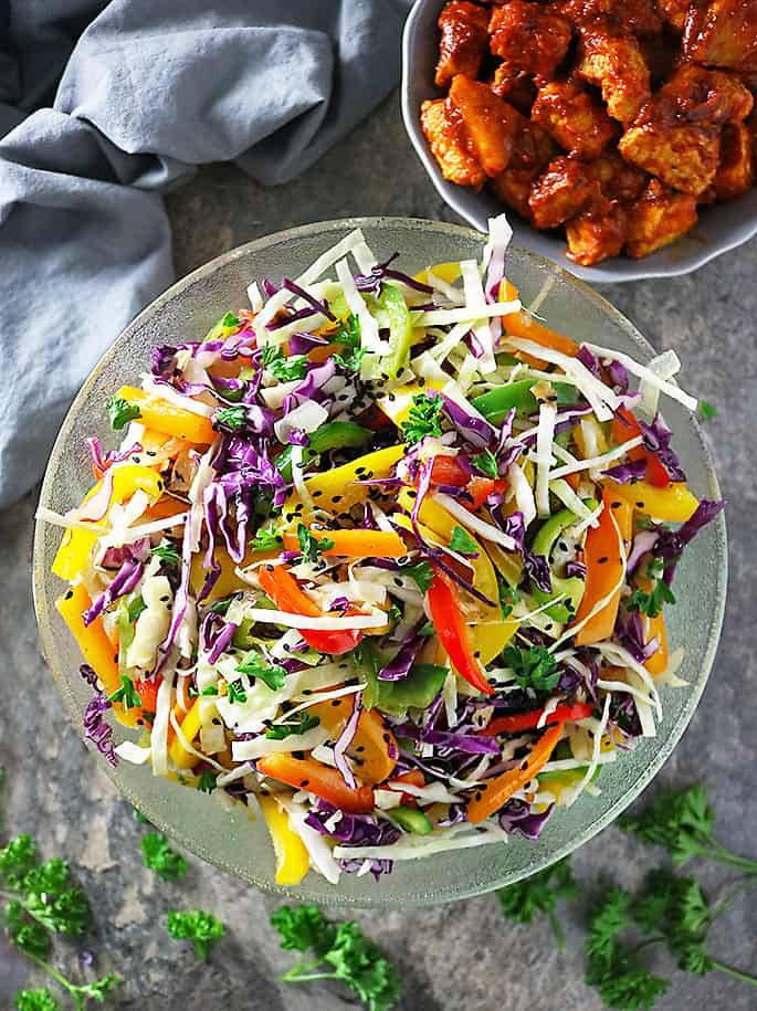 Easy Cabbage Pepper Salad With Pineapple Pork