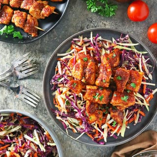 Photo of Chicken Skewers With Tomato Apple Cider Vinegar Sauce And Maple Apple Cider Vinegar Slaw