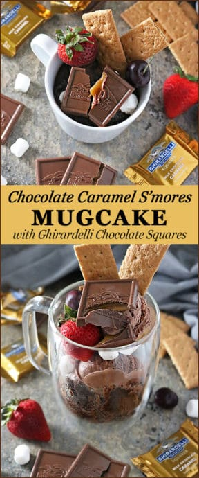 One Minute Chocolate Caramel S'mores Mug Cake With Ghirardelli Squares