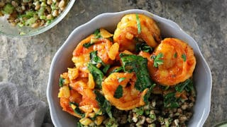 Spicy Curried Shrimp Spinach Bowl