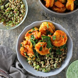 Overhead photo of Curried Shrimp Spinach Bowls