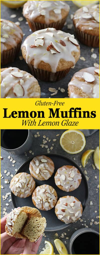 "Intoxicatingly lemony, these ""luscious"" Gluten Free Lemon Muffins also happen to be butter free and would make a delicious, healthyISH, afternoon snack or breakfast Image"