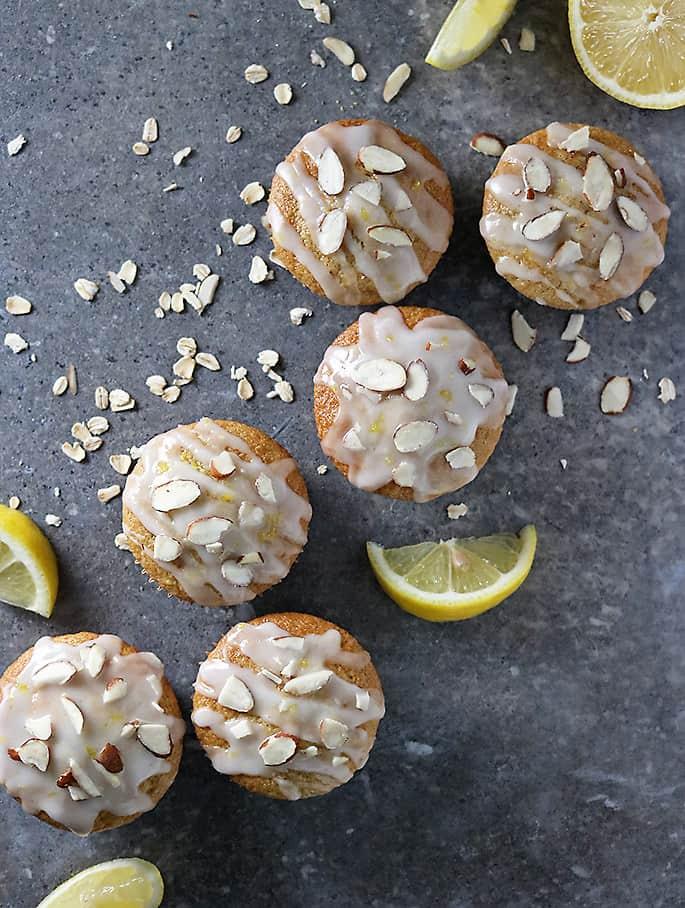 Photo of diagonally arranged Gluten Free Lemon Muffins