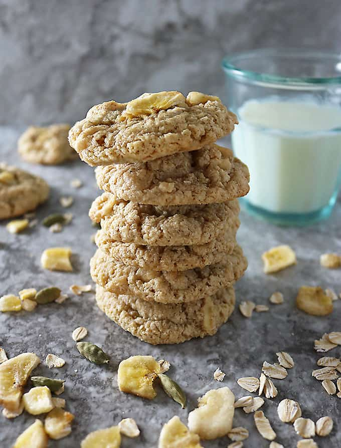 Stack of Gluten Free Oat Banana Cookies
