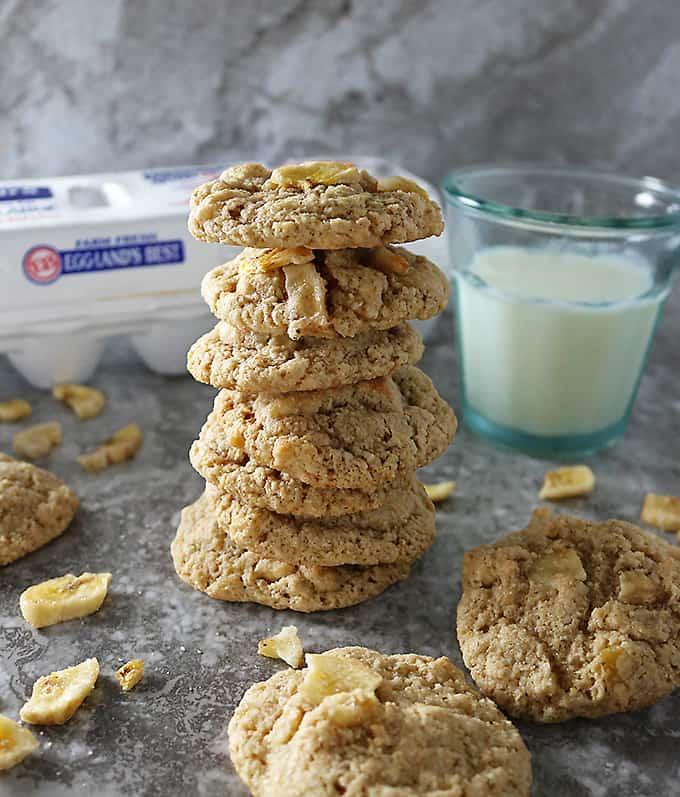 Photo of stack of Healthyish Oat Banana Chip Cookies