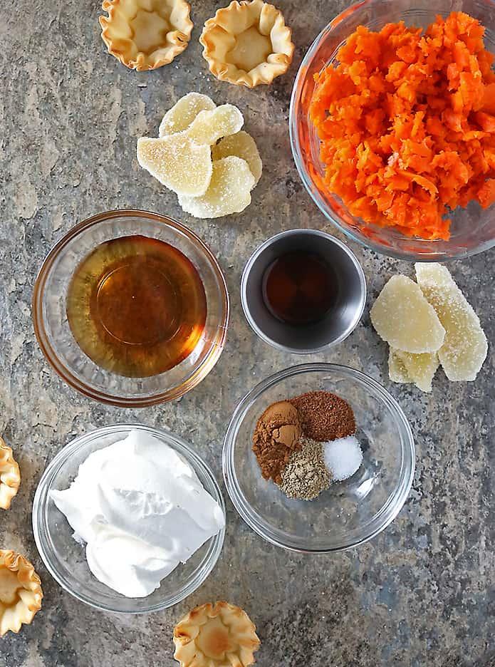 Photo of Ingredients To Make Ginger Carrot Tartlets