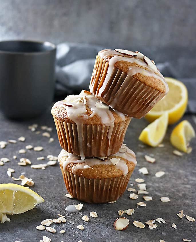 Stack of three Lemon Muffins Gluten Free