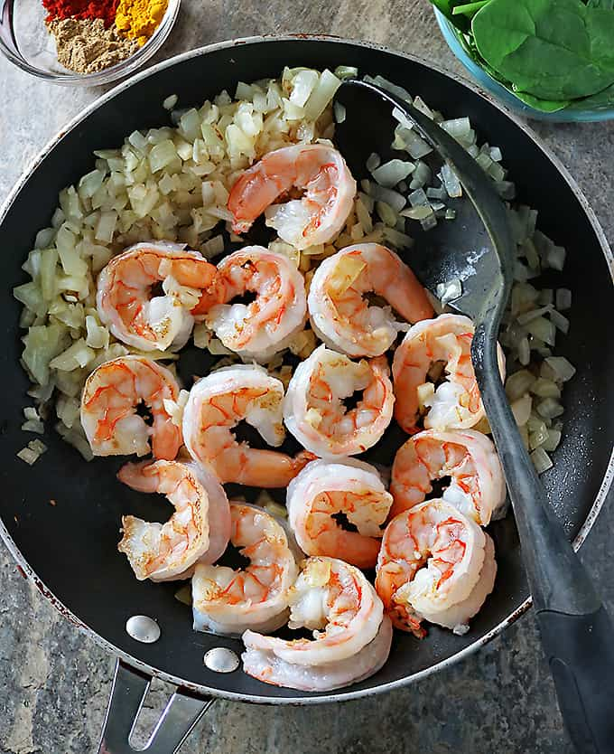 Photo of Making Spiced Shrimp Spinach Saute