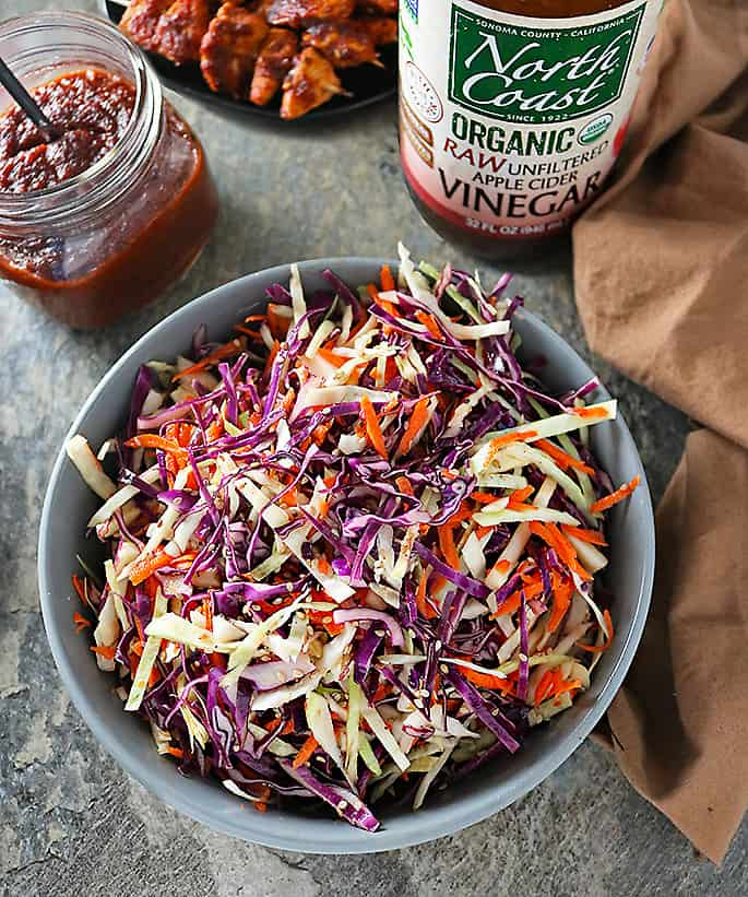 Photo of bowl with Maple Apple Cider Vinegar Cabbage Slaw