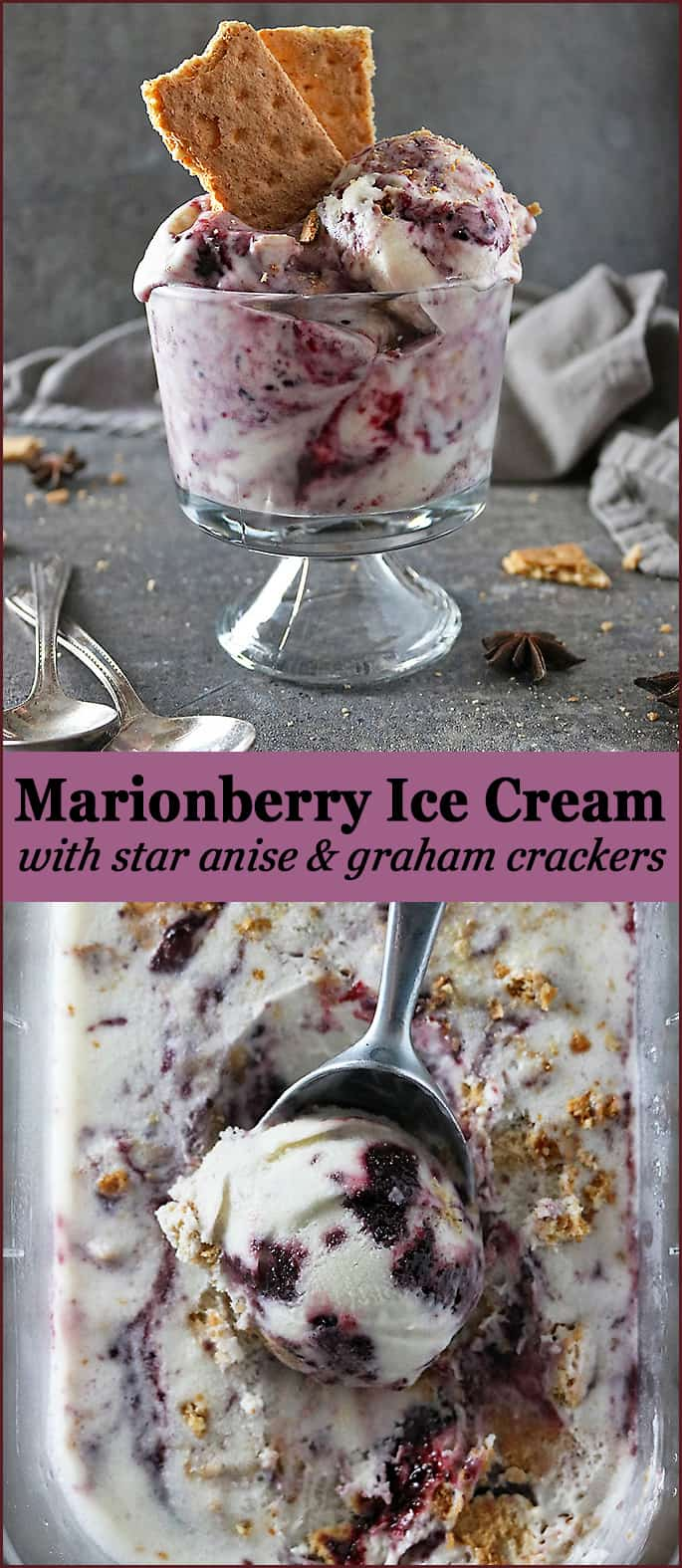 Marionberry Ice Cream with Star Anise & Graham Crackers Inspired by Salt and Straw in Portland, Oregon.