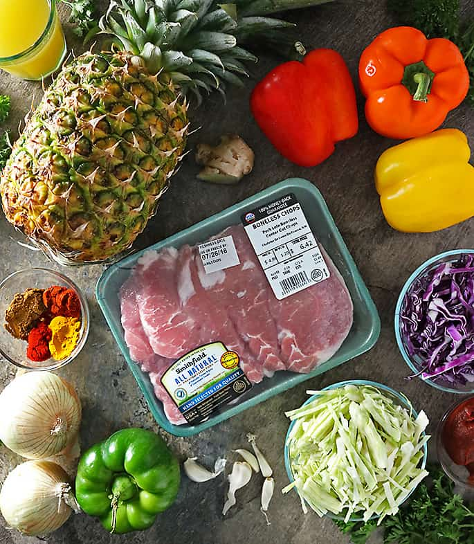Smithfield All Natural Pork and Ingredients to make Spicy Pineapple Pork and Cabbage Salad