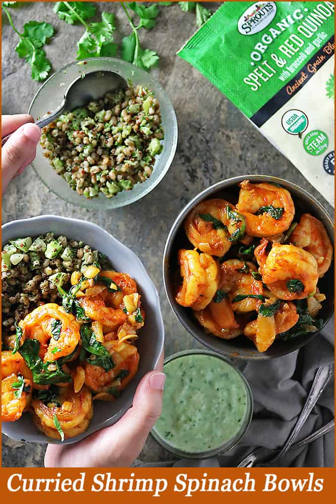 These Spicy Curried Shrimp Spinach Bowls with Sprouts Ancient Grains Blends make for a quick, easy, delicious and better for ya meal, especially during those busy back to school nights!